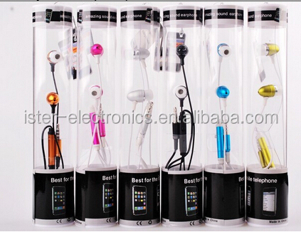 Hot selling colourful handsfree metal earphone ear piece in tube