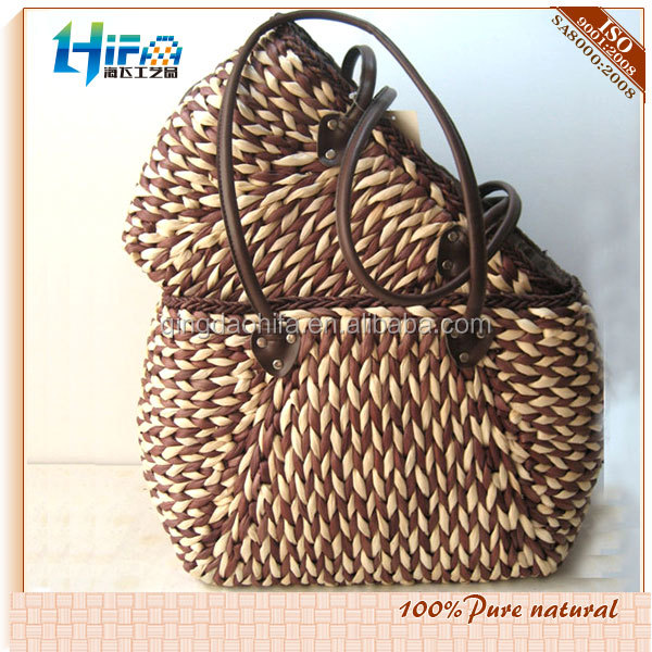 2015 Summmer Handmade New Style Girls Wooden Handle Straw Bags