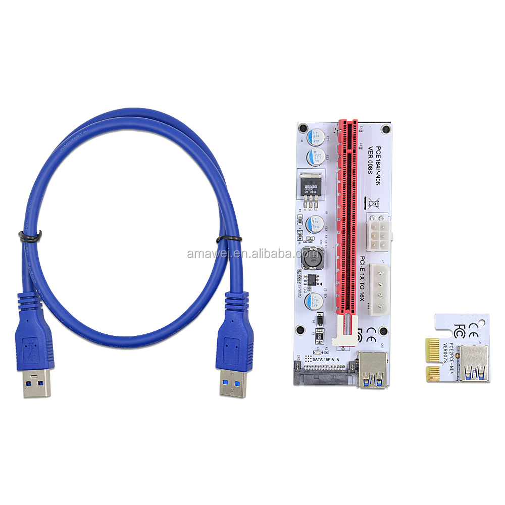 60cm USB 3.0 PCI-E PCI Express 1x to 16x Extender Riser Card Adapter Big 6Pin 4Pin SATA Power Cable for Bitcoin Miner