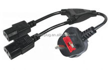 3A 5A 10A 13A 250V UK 3 core ac power cord with male female plug