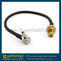 SMA CRC9 RG174 cable/sma jumper cable/crc9 antenna extension cable rp-sma female to crc9 male right angle with rg174 cable