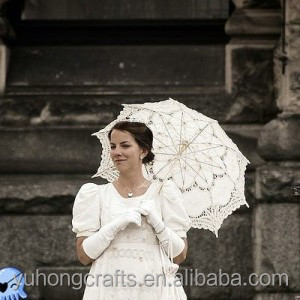 White Battenburg Lace Parasol & Bridal Lace Fan Set For Wedding