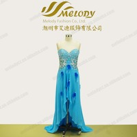 Blue satin chiffon short front long back floor-length paillette beaded feather dress
