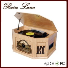 Rain Lane Turntable With 7-in-1 Multi Rpm Usb/Dd Slot Cassette Lp Player Modern Gramophone