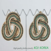 KE-144-2 green color twisted big size stud earring