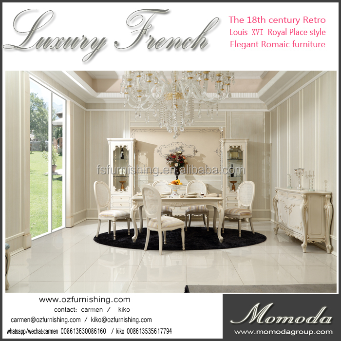 L-T1-1 luxury cream white neoclassic solid wood 1.6m 6 fabric chairs dining table antique rococo dining room furniture set