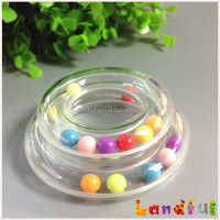 Colorful Rainbow Beads Baby Toy Clear Plastic Rattle Rings