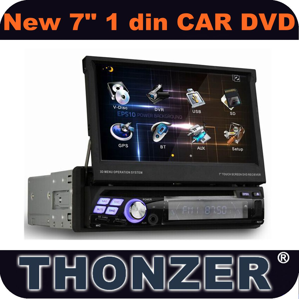 7inch One Din Car GPS DVD with 3D UI +TMC+PIP+Sliding Screen