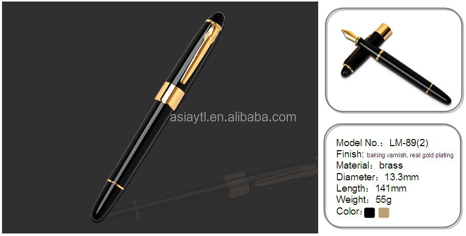 high quality luxury heavy metal carved shiny barrel fountain pen