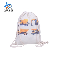 Wholesale cotton canvas beam pockets drawstring bag with custom logo