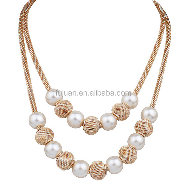 Fashion layers pearl jewelry necklace simple design gold long chain pearl necklace
