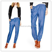 Ladies washed light weight denim/chambray jogger pants/trousers NT145