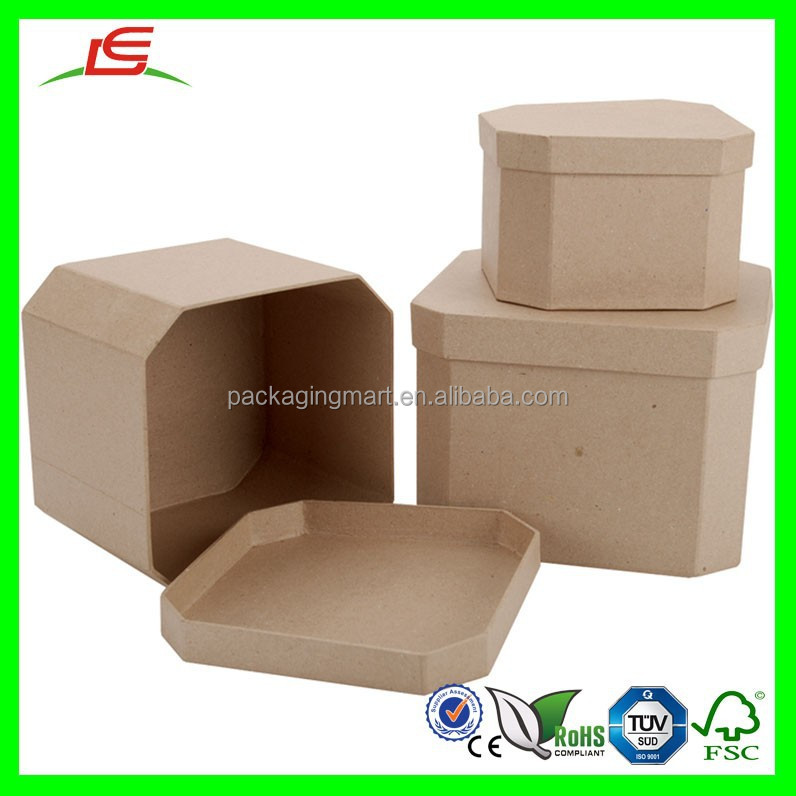 D158 Paper Mache Square Rounded Corner Safe Box for Kids