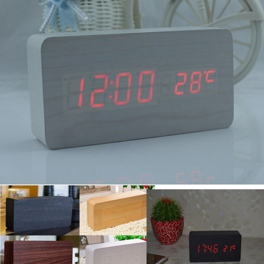 Home Decoration digital alarm led wooden clock