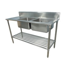 Used Commercial Stainless Steel Double Bowl Kitchen Sink with Drainboard