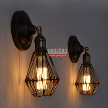 Yiman traditional loft cage wall lighting fixture vintage unique edison wall lamp CE UL guzhen cheaper lighting