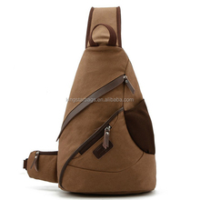 One single shoulder sports canvas backpack with PU leather trim