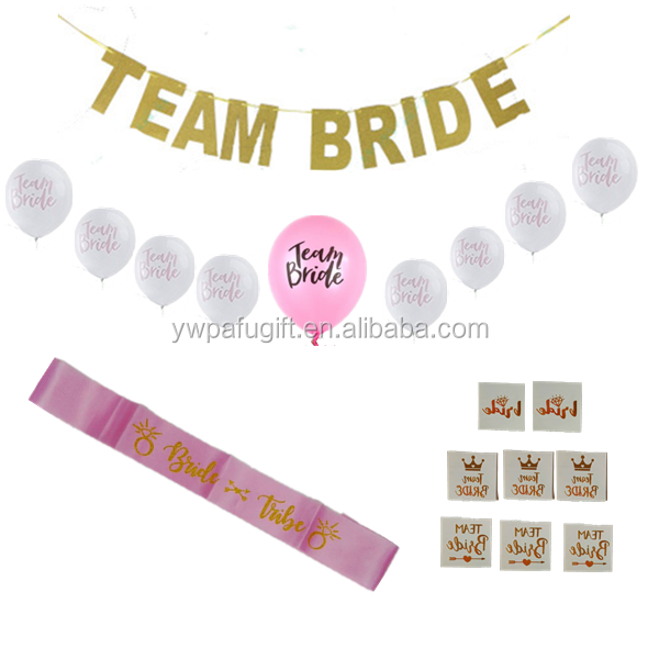 Bridal shower party supplies kit bachelorette team bride tattoos,team bride balloons for hen party decoration