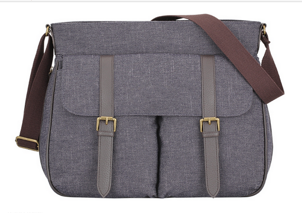 Stylish Grey Snow Fabric Travel Baby Messenger Diaper Bag