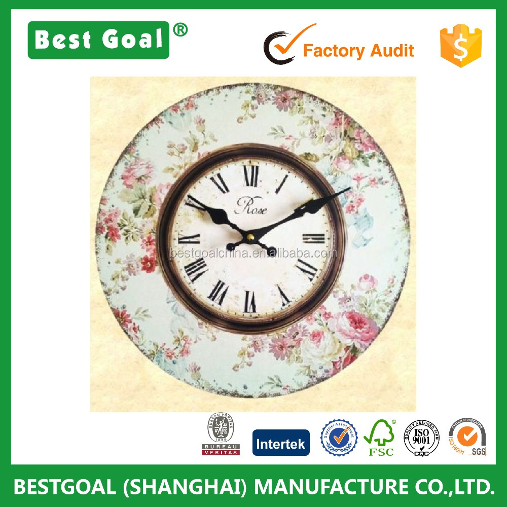 Antique Wooden Wall Clock Rose Pink Floral