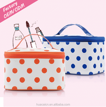 Women PU material cosmetic bags dots print makeup bags travel cosmetic kits beauty case