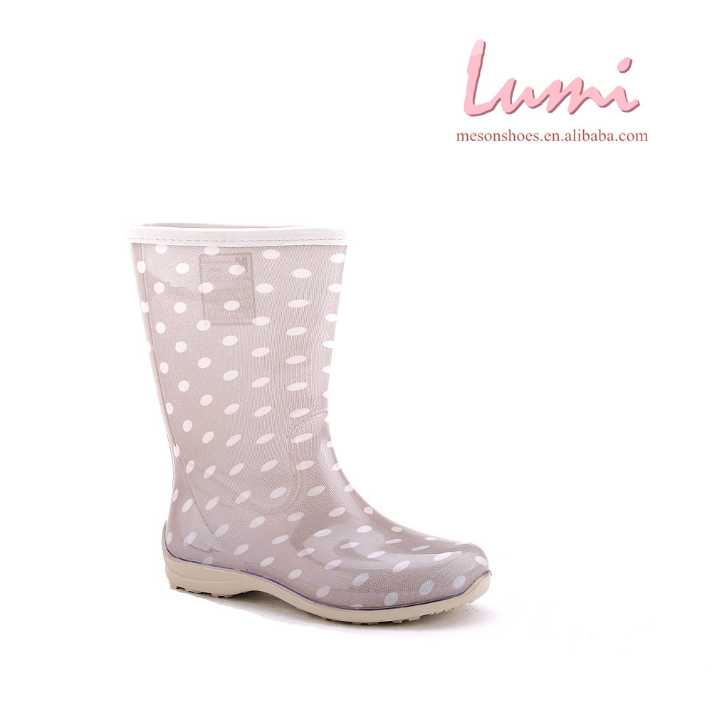 pink shoes colorful rainboots ankle wateroof pvc spotted rainboots