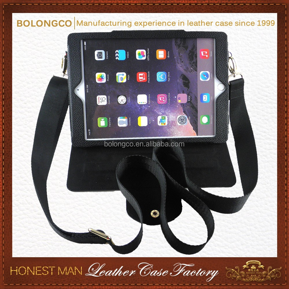 Creative Design Customized OEM High Quality Shoulder strap tablet case Genuine Leather Case For Ipad Air