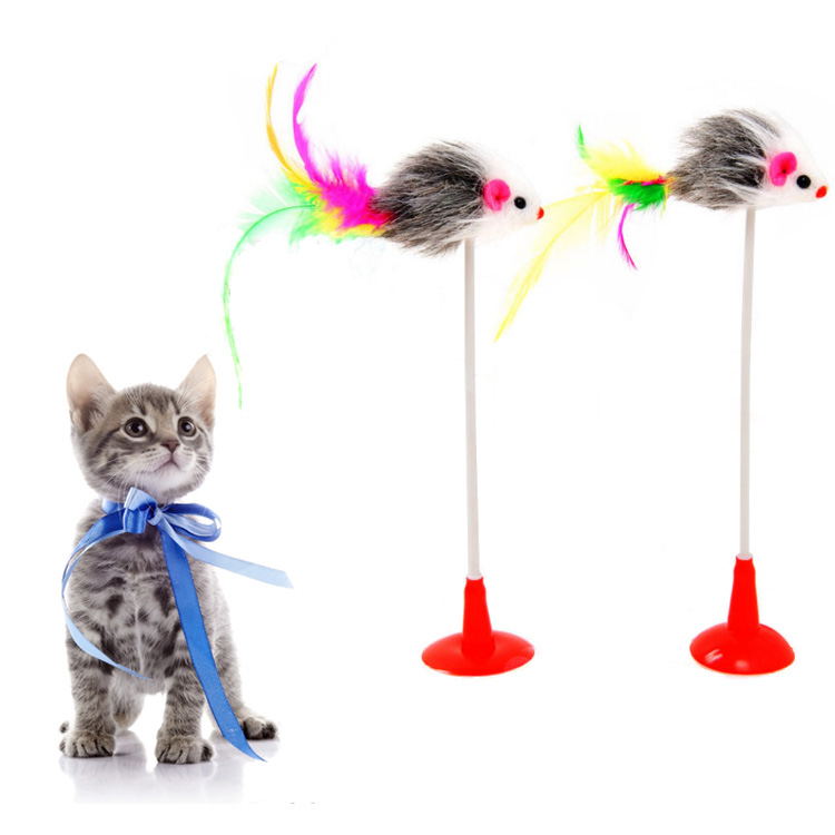 interesting wholesale China products feather mouse cat toys for kittens to play on their own