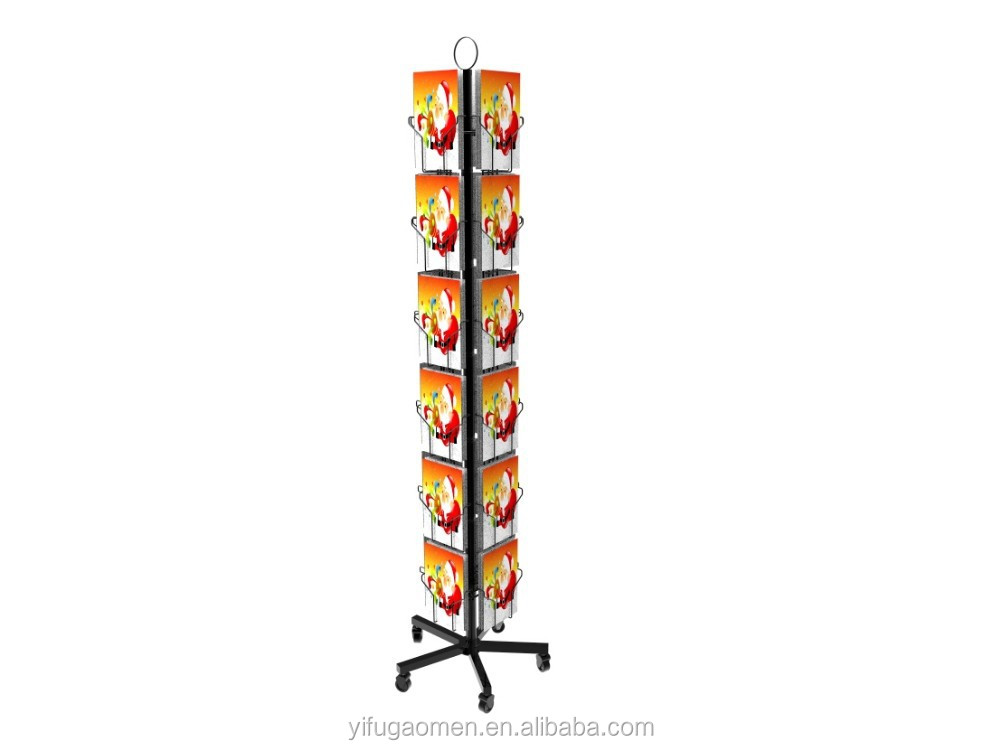 Christmas card display floor stand, Wire Display rotating rack