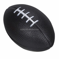good quality cheap PU foam black rugby stress ball for promotional