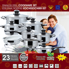 High quality 23pcs cookware sets casserole, saucepan, frypan stainless steel nonstick cookware set