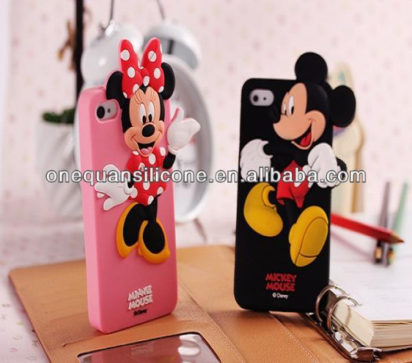 Various color design 3D Minnie Mickey Mouse Silicone mobile phone case Skin for iphone