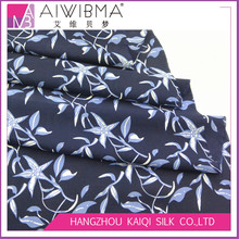 Hangzhou floral print silk crepe de chine/silk CDC/silk crepe fabric with navy blue color