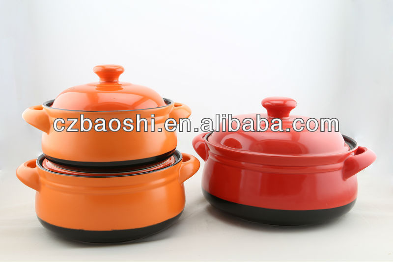 3PCS COLORFUL WHOLESALE CLAY COOKING HOT POT FOR INDUCTION