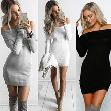 2017 Ebay Hot Selling Autumn Winter Shoulder -bare Sexy Sweater Dress for women