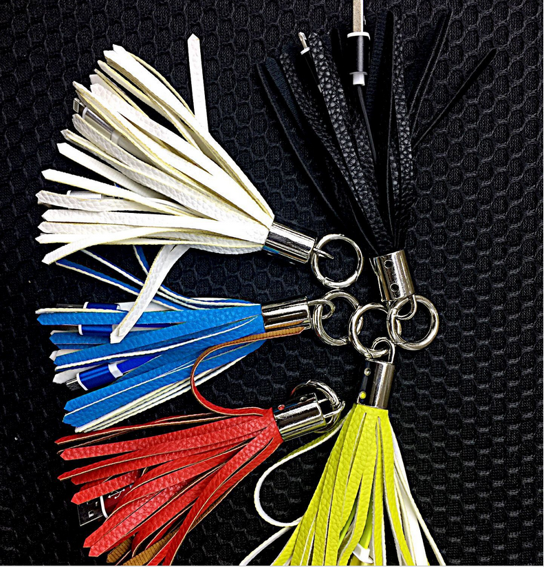 Fashion tassel Portable USB Keychain Cable for cellphone,USB Keychain Charging Cables