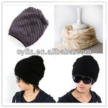 Winter fashion man's knitted stripe multipurpose hat&scarf