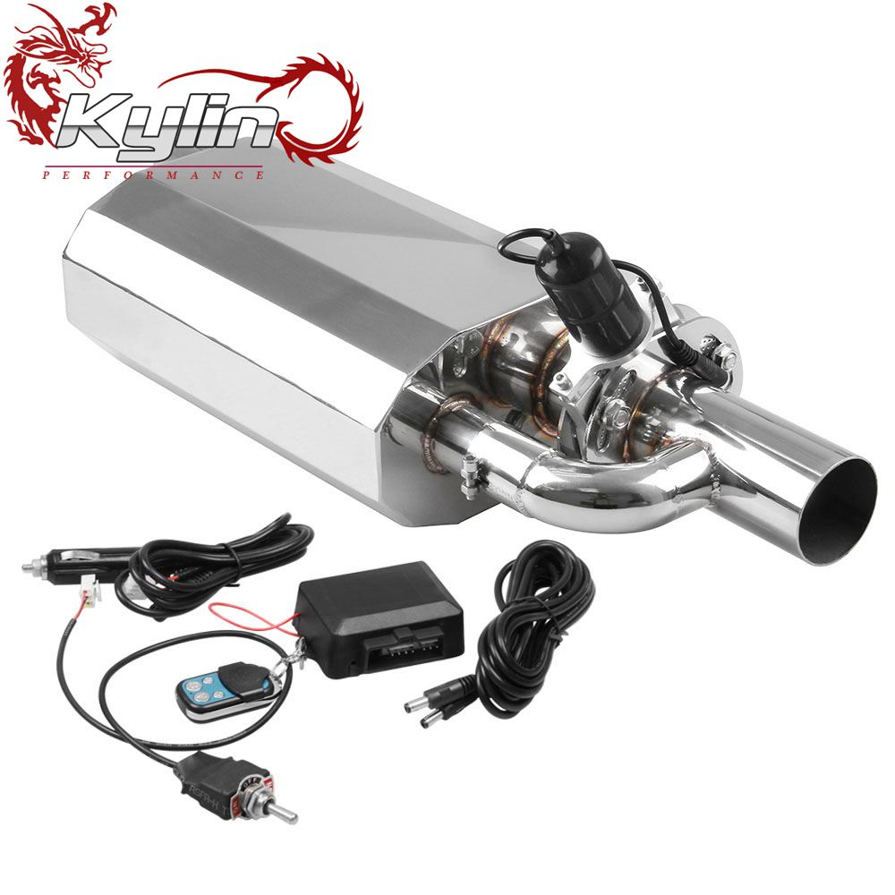 "Ryanstar Racing Car Stainless Steel 2.5"" Outlet 3""Inlet Tip Exhaust Muffler with Remote Control"