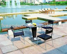 WF-2001 stainless steel dinner rattan outdoor furniture set