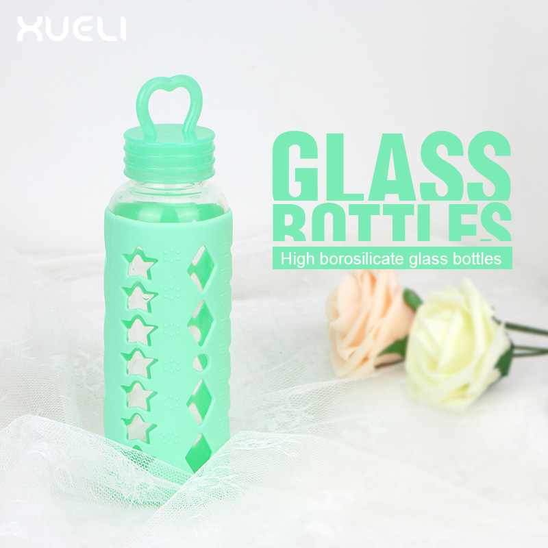 New Creative Design office Glass Water Bottle With Silicone Sleeve