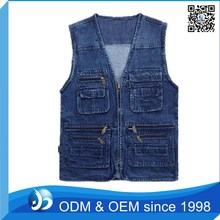 OEM Service Vest With Many Pockets Mens Denim Vest