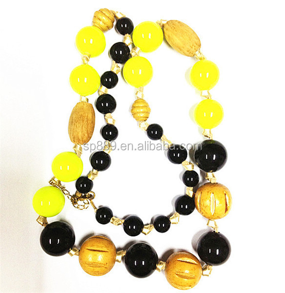 Best sell charm plastic beads necklace lady jewelry crystal styles for women