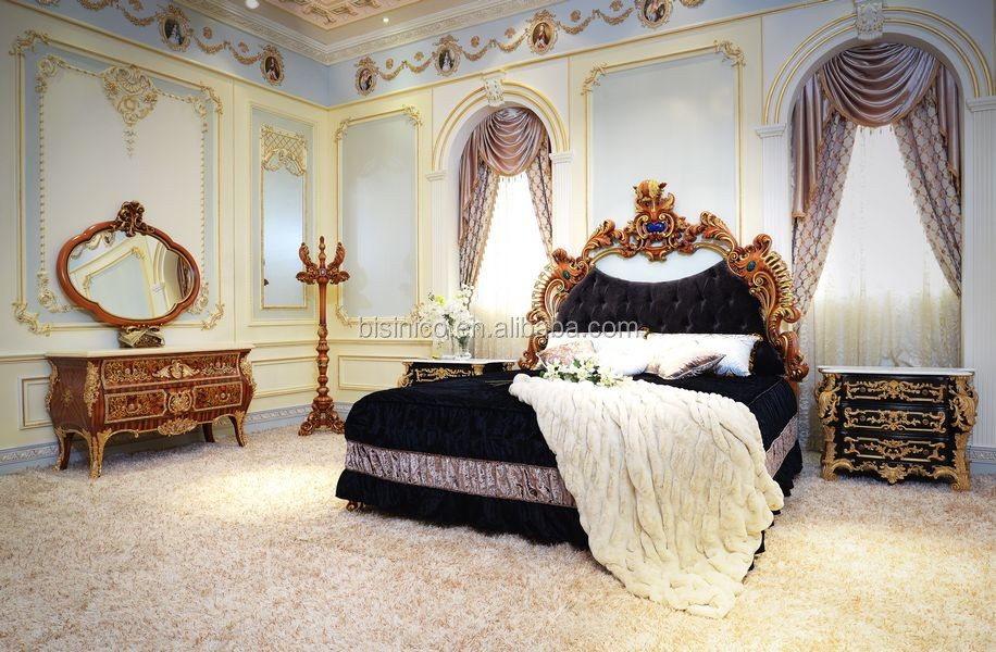 Latest Fabulous King Size Bedroom Set Furniture/ Rococo Bedroom Furniture With Wooden Hand Carving Luxury Double Bed Design