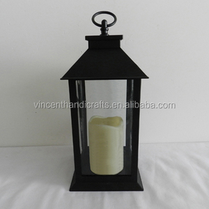 Rustic antique black plastic lantern with LED pillar candle fitting for home decoration