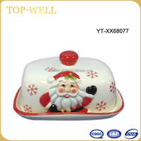 Santa claus butter dish with lid butter holder