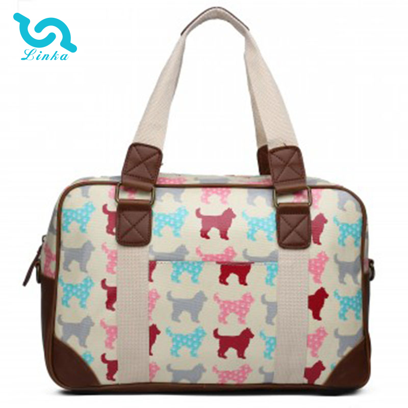 LINKA brand fashion dog beige vintage oilcloth tote handbag