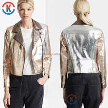 Promotional fashion women leather biker jacket for wholesale