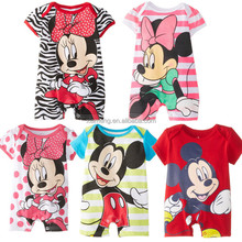 2016 Hot sale cotton sleepwear fashion baby romper with mickey short sleeve mickey baby romper for newbron
