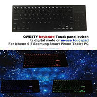 New arrival QWERTY keyboard with Touch panel switch to digital mode mouse touchpad for iphone 6 5 Sasmung Smart Phone Tablet PC