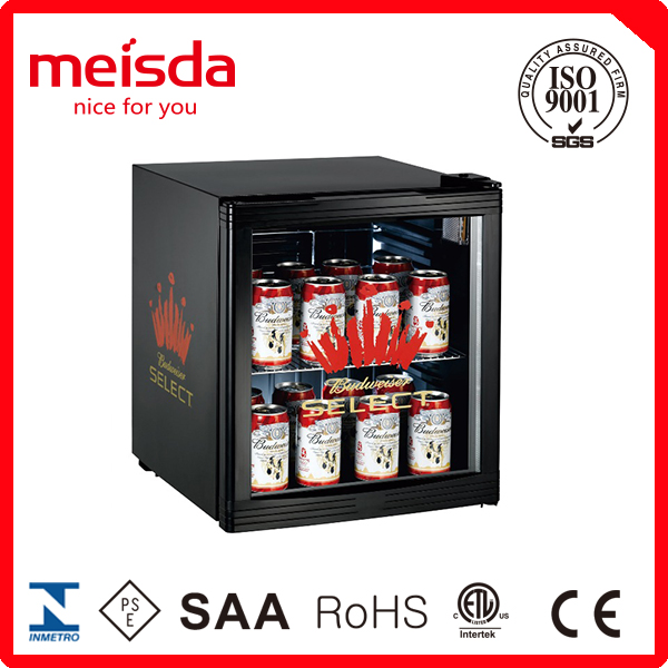 52 L glass door counter top fridge, table cola fridge LED Logo